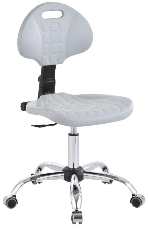 Krzesło laboratoryjne niskie - popiel/chrom