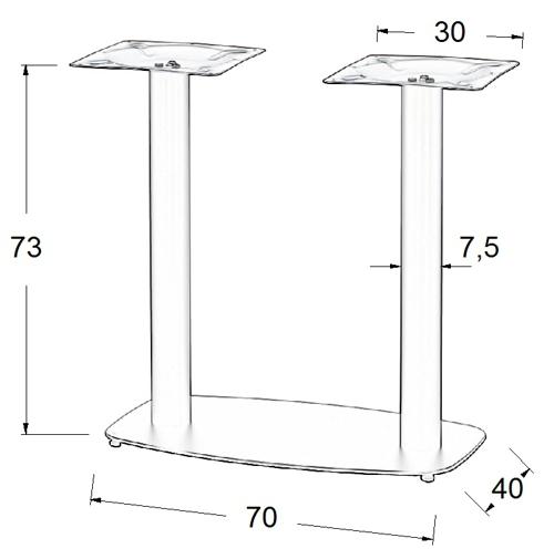 Podstawa do stolika EF-SH-3052/B- wysokość 73 cm 40x70cm