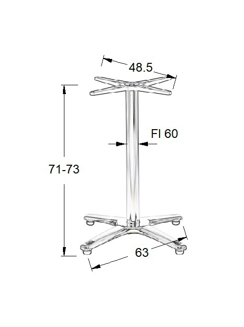 Podstawa do stolika EF-SH-7102/A- wysokość 71-73cm 63x63cm