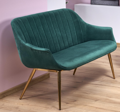 ELEGANCE 2 XL sofa tapicerka - ciemny zielony, nogi - złote