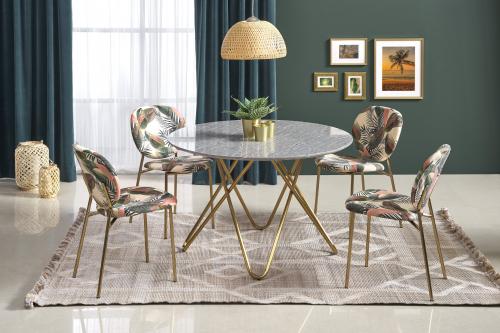 BONELLO stół, blat - popielaty marmur, nogi - złoty (2p=1szt)