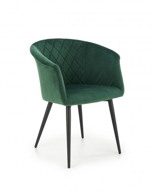 K421 krzesło nogi - czarne, siedzisko - ciemny zielony