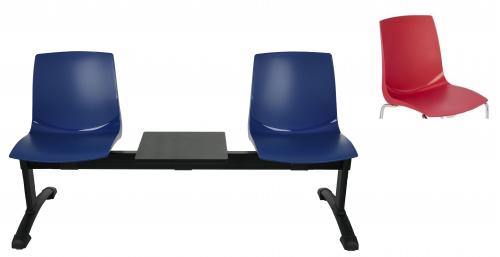 Ławka ARI 3T  2 osobowa + stolik - czerwona