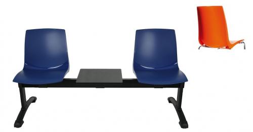 Ławka ARI 3T 2 osobowa + stolik - pomarańczowa