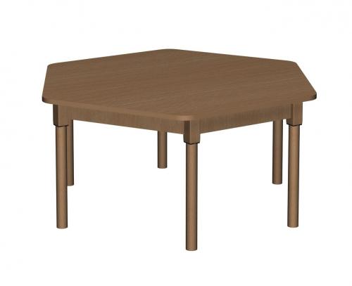 Stolik MB sześciokątny drewniany
