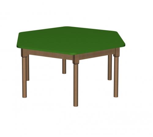 Stolik MB sześciokątny drewniany/ opcja regulacja wysokości