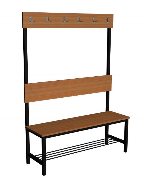 Ławka korytarzowa Premium 1-str. z oparciem, wieszakiem i półką długości 1m, 1,2m, 1,5m, 1,8m, 2,0m.
