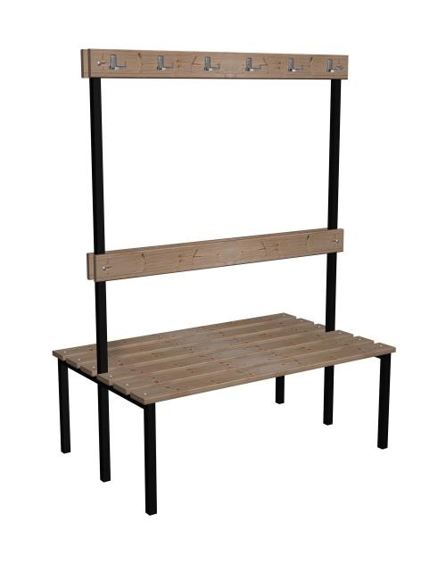 Ławka korytarzowa Classic 2 str. z oparciem i wieszakiem, długości 1m, 1,5m z desek