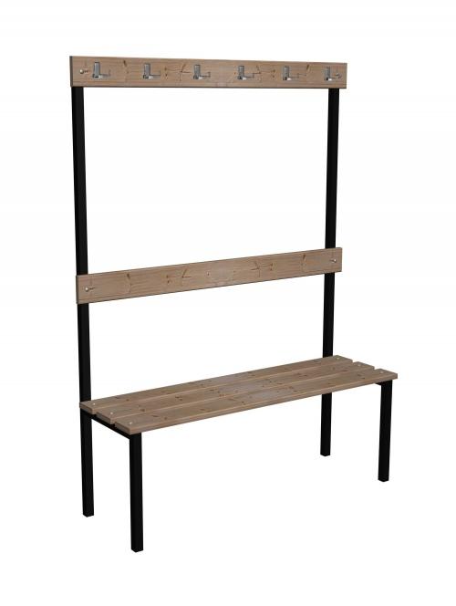 Ławka korytarzowa Classic z oparciem i wieszakami długości 1m, 1,5m z desek