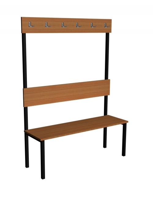 Ławka korytarzowa Classic z oparciem i wieszakiem długości 1m, 1,5m z płyty