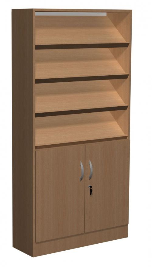 Regał biblioteczny skośne półki i szafka B