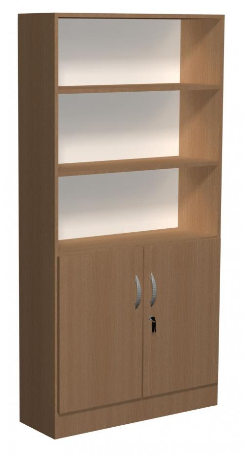Regał biblioteczny proste półki i szafka D