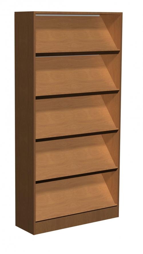 Regał biblioteczny ze skośnymi półkami i schowkami E