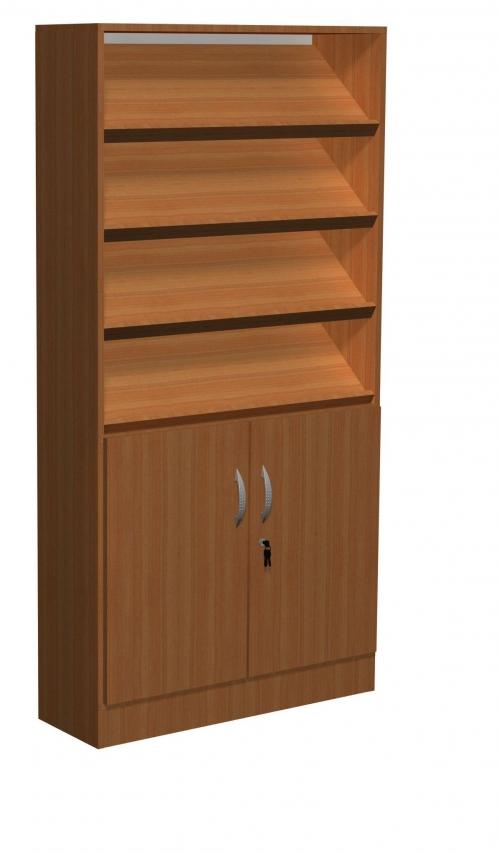 Regał biblioteczny skośne półki, schowki, szafka F