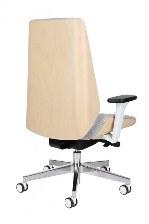 Fotel gabinetowy MOON WOOD WHITE CHROME