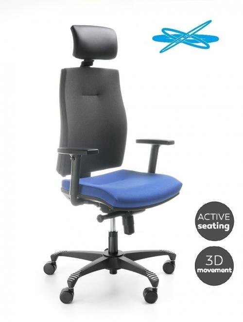 Fotel biurowy obrotowy CORR black CJ 103 SBF z zagłówkiem - ruch 3D