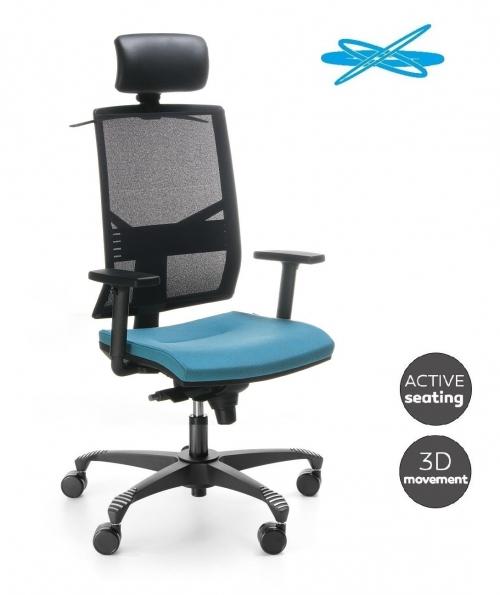 Fotel biurowy obrotowy ELEVEN EL 103 black SBF - ruch 3D