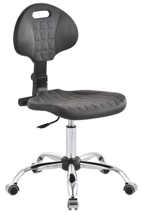 Krzesło laboratoryjne niskie - czarny/chrom