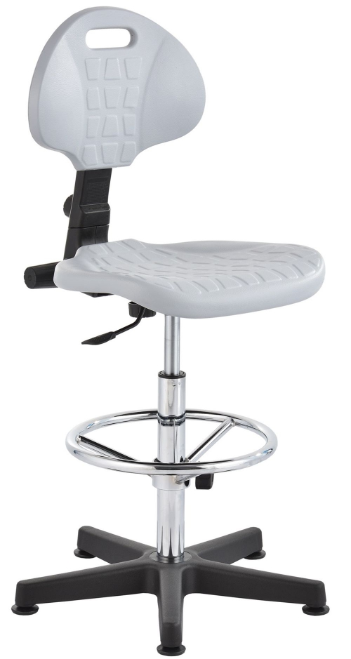 Krzesło laboratoryjne wysokie - chrom - popiel