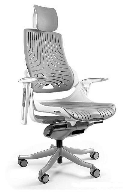 Fotel Obrotowy WAU Elastomer biały szary