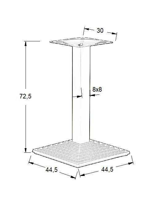 Podstawa do stolika EF-SH-5014-6/B - wysokość 72,5 cm 44,5x44,5 cm