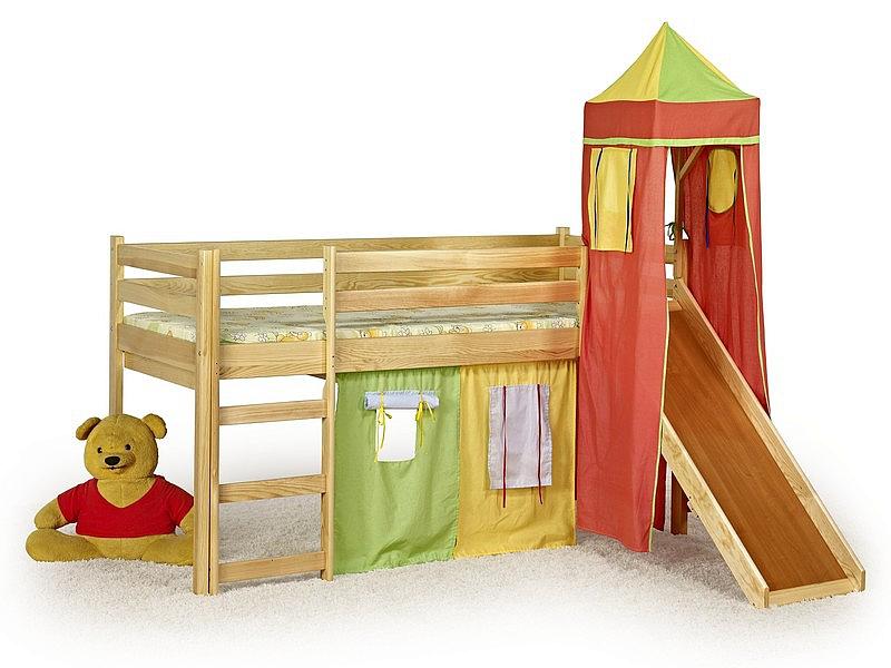 FLO - łózko piętrowe ze zjeżdżalnią,wieżą i materacem - sosna (1szt=5p.)