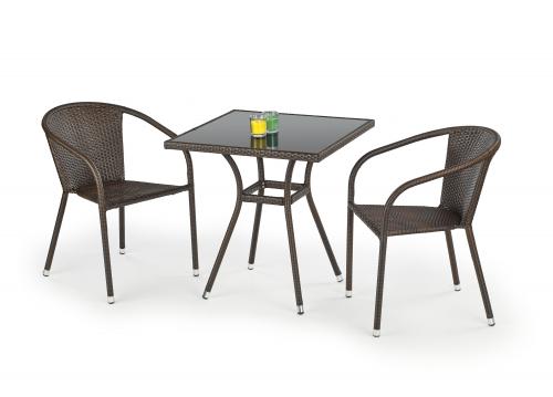 MOBIL stół ogrodowy, kolor: szkło - czarny, ratan - c.brąz (1p=1szt)