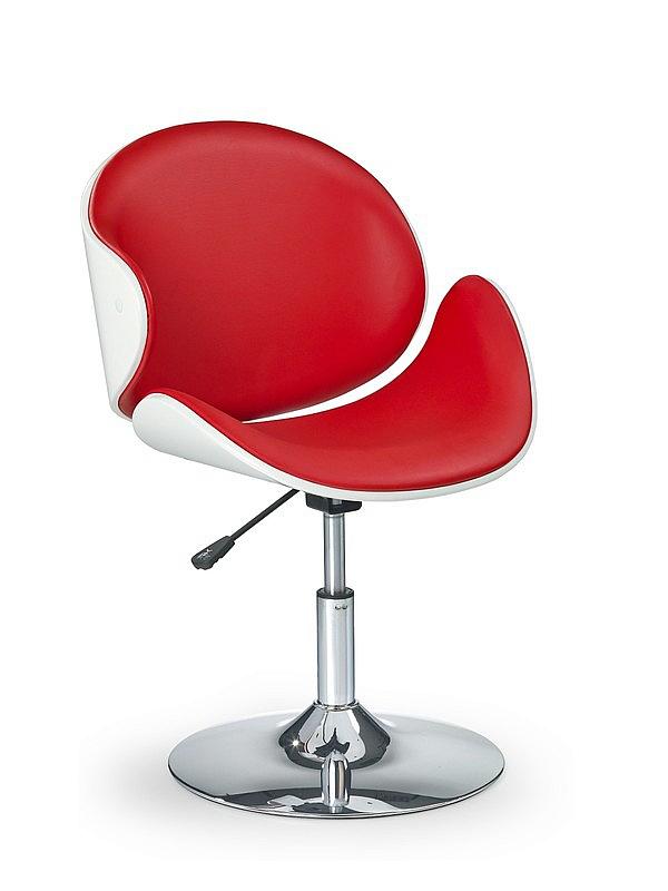 Fotel obrotowy czerwono biały