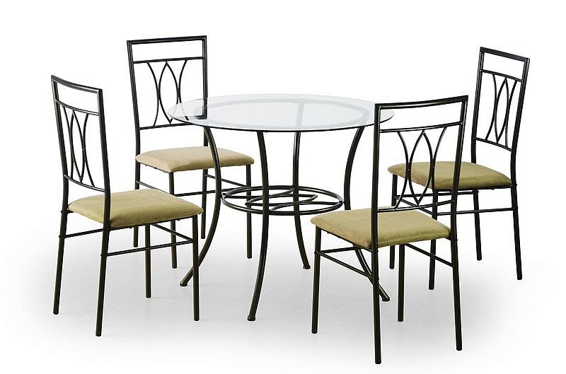 MERTON zestaw: stół + 4 krzesła, czarny / cappuccino (1p=1kpl)
