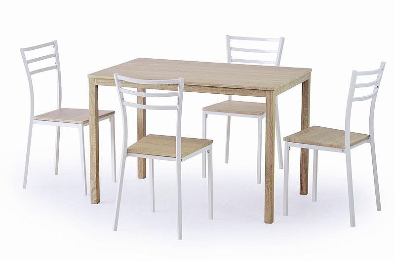 AVANT zestaw: stół + 4 krzesła, biały / dąb sonoma (1p=1kpl)