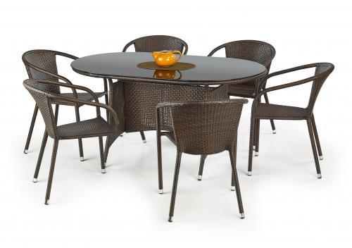 MASTER stół ogrodowy, kolor: szkło - czarny, ratan - c.brąz (2p=1szt)