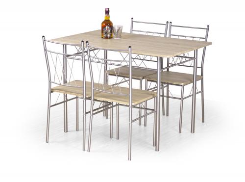 Zestaw: stół FAUST + 4 krzesła dąb sonoma